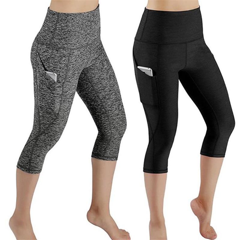 Leggings 3/4 Pants Female Capri Casual Pant Sporting Fitness High Waist Pants Side Pockets Design Sporting Leggings
