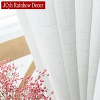 linen look white tulle window curtains for living room sheer voile curtains for bedrrom japan farmhouse crushed solid drapes