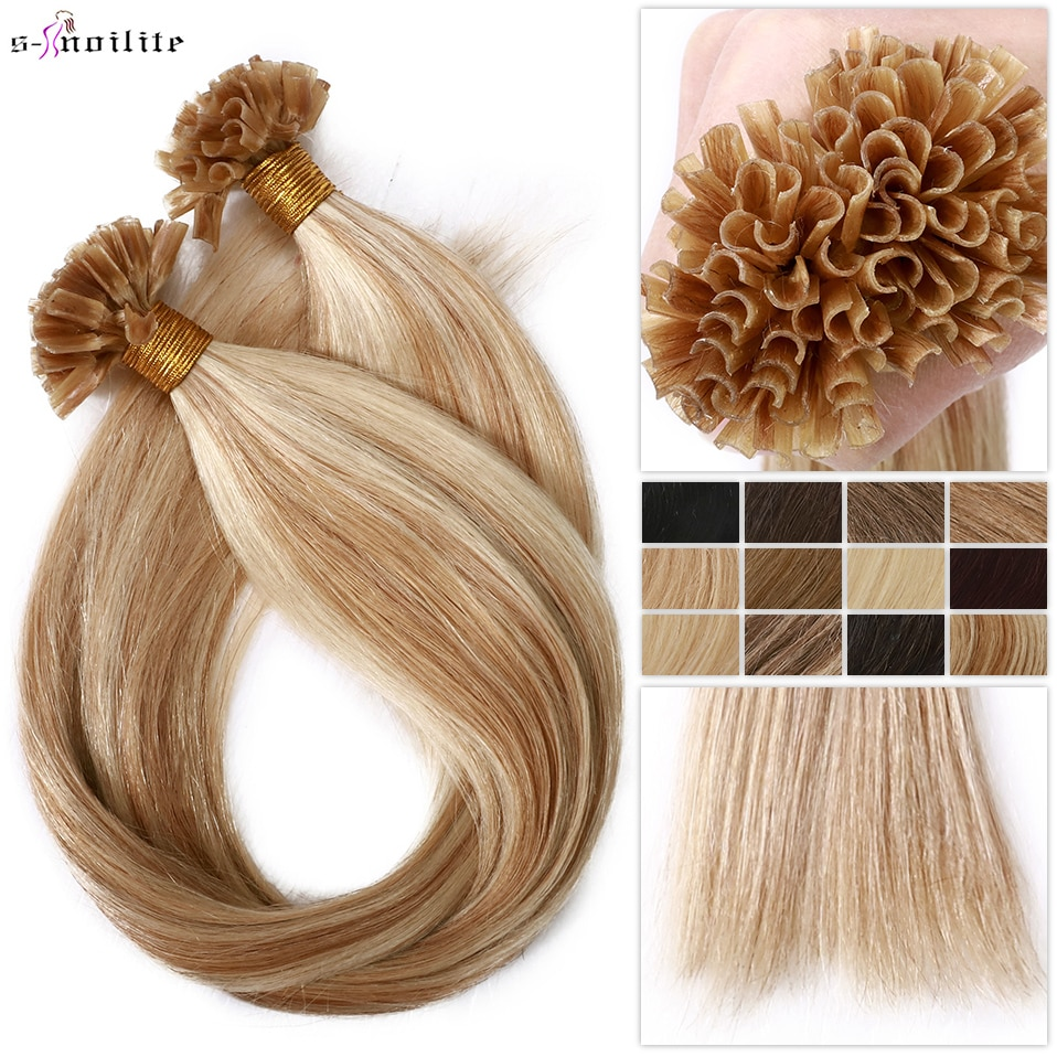 S-noilite U Tip Hair Extensions For Volume 16'' - 24''  1g/s 50g Straight Human Hair Keratina Pre-bonded Capsules Fusion Nail