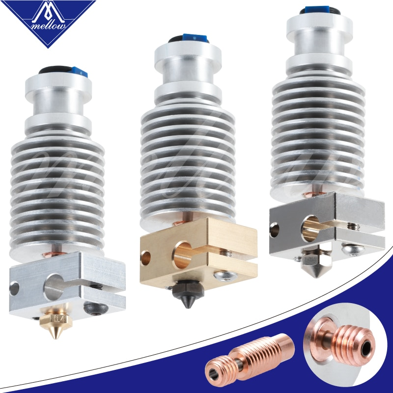Extrusora de j-head Hotend Bowden Mellow todo Metal NF V6-Crazy Bimetal para ventilador de refrigeración E3d V6 Hotend piezas de impresoras 3D