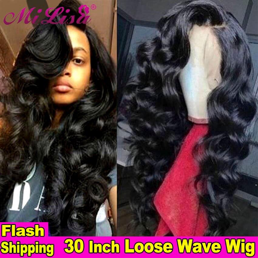 30 polegada peruca de onda solta encerramento peruca frente do laço perucas de cabelo humano para preto feminino pré arrancadas remy 13x4 peruca frontal do laço brasileiro