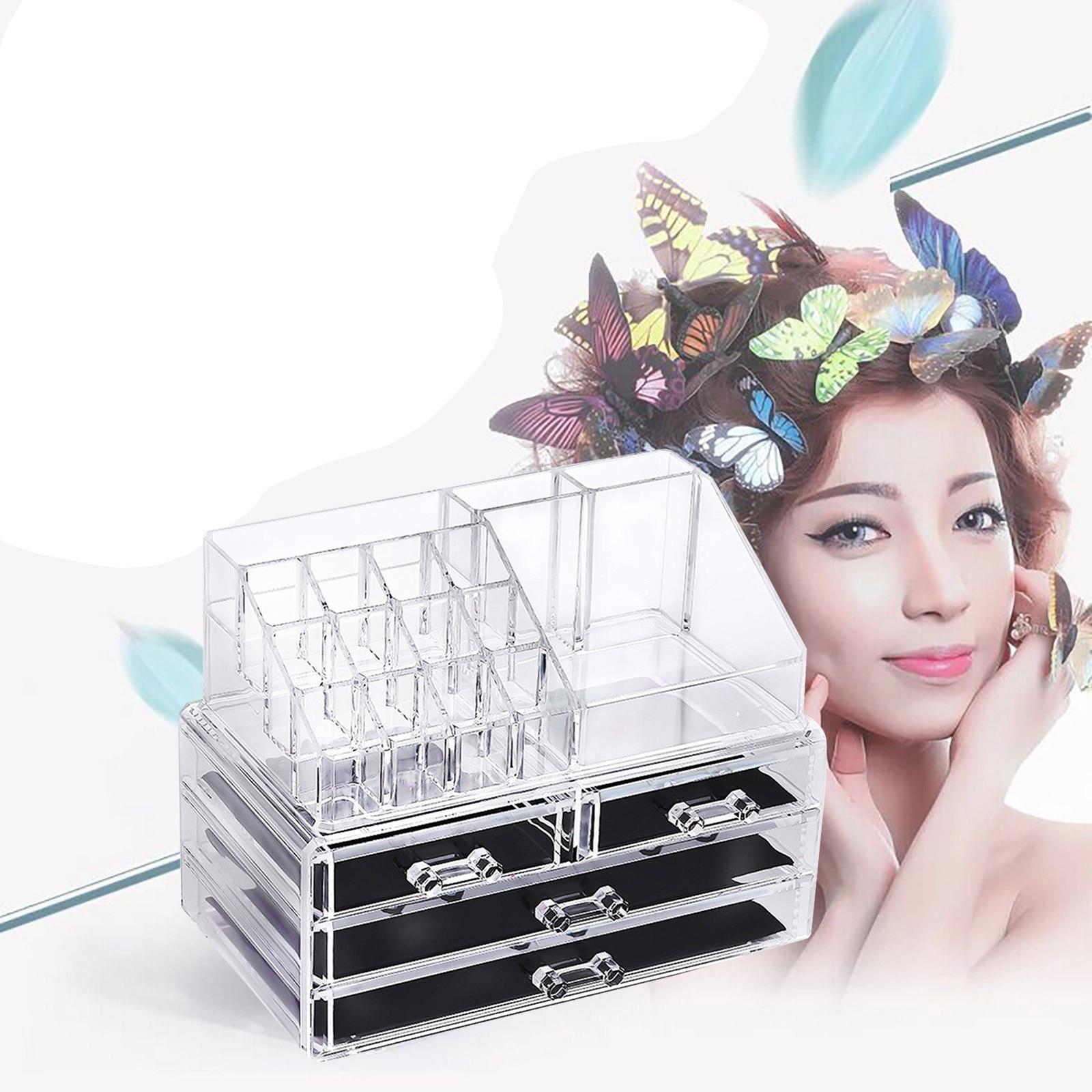 منظم سطح المكتب الشفاف ، صندوق تخزين مستحضرات التجميل من الأكريليك الشفاف ، إبداعي ، متعدد الوظائف ، منظم المكياج ، جديد