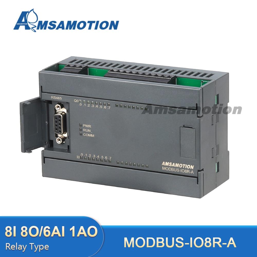 Modbus IO8R-A RTU 8 Way Relay Module 6AI 1AO Analog Input Output 485 Communication Board 8DI/8DO Digital 8 way analog data acquisition input 6 relay output 220vac modbus rtu module serial port 485
