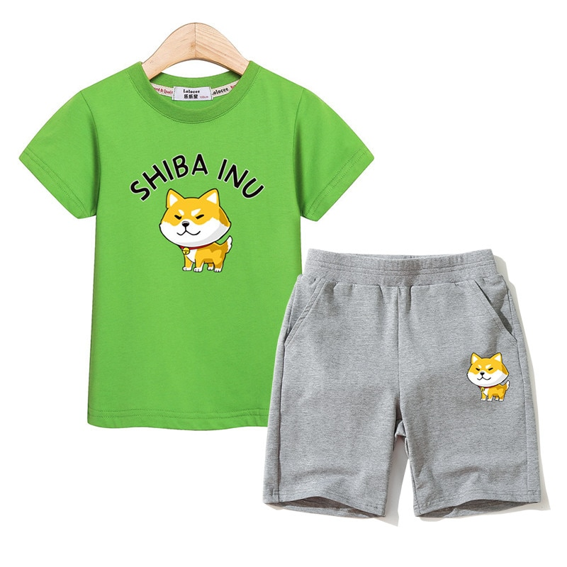 Shiba Inu Outfits Kds T-shirt Cotton Shorts 2pc Suits Boys Summer Clothing Girl Sets Kid Cartoon Costume 3-14T