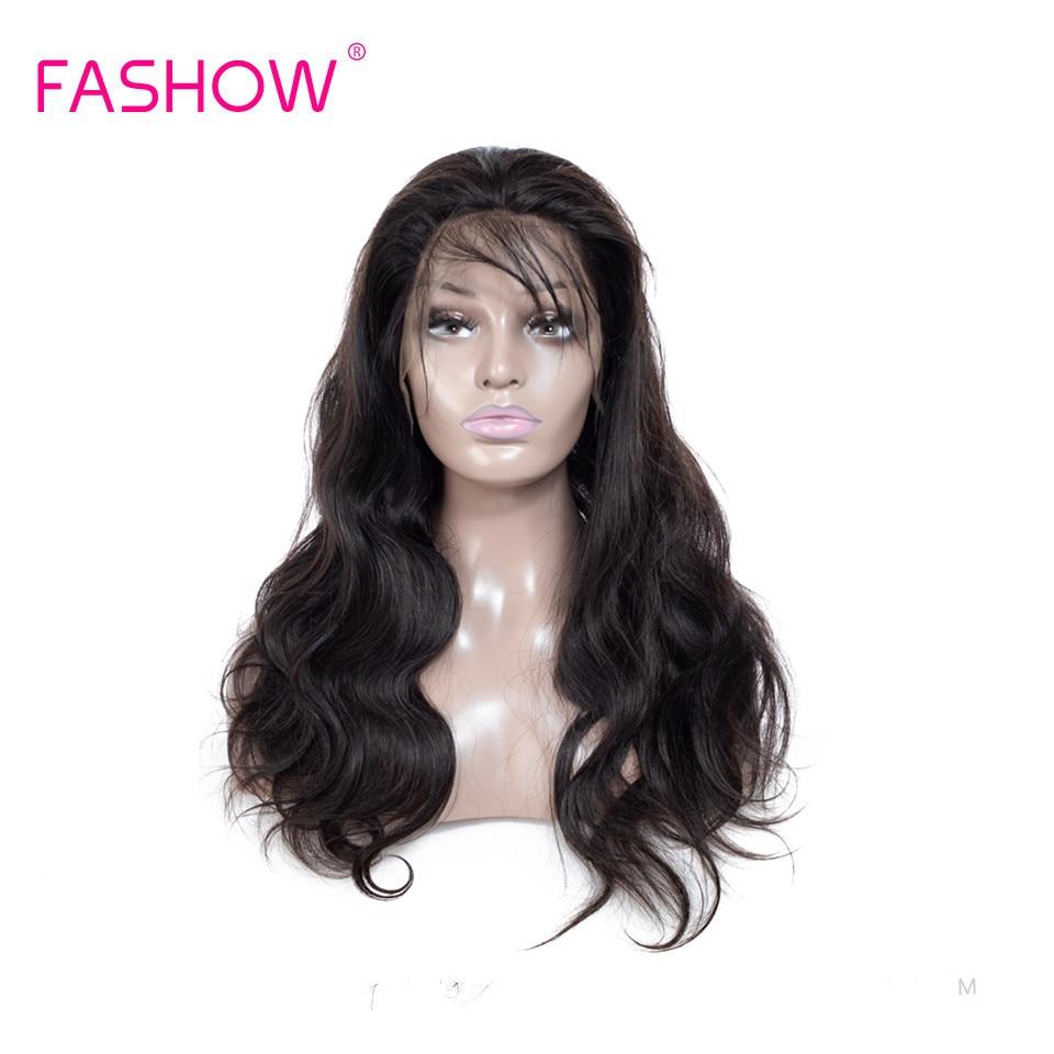 Fashow, pelucas de pelo frontal de encaje 13*4, pelo brasileño, pelucas de cabello humano negro Natural con línea de pelo pre-desplumado, densidad del 180%
