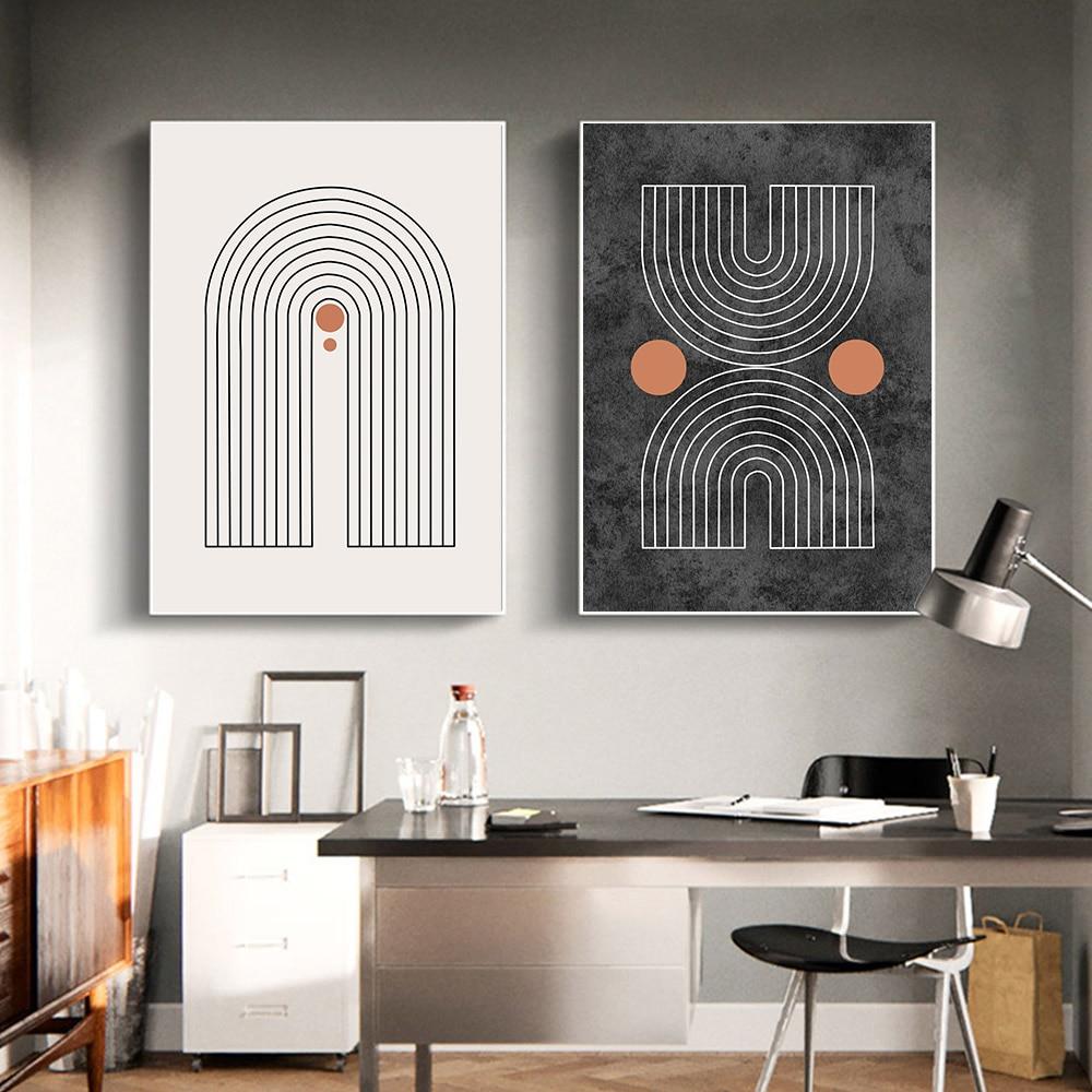Pintura abstracta, póster de lienzo geométrico, impresiones de arte de mediados de siglo, póster bohemio, cuadros de pared modernos para la decoración del hogar de la sala de estar