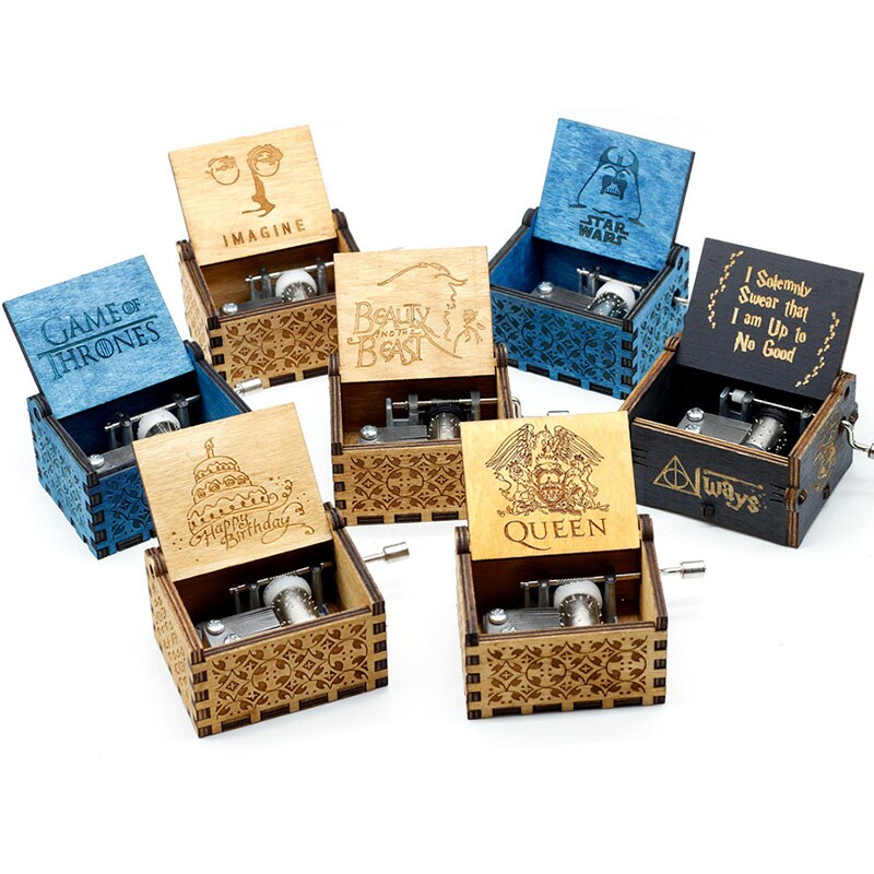 Wholesale Hand Cranked Wood Music Box Imagine John Star War  Castle In The Sky Zelda La La Land Christmas Gift