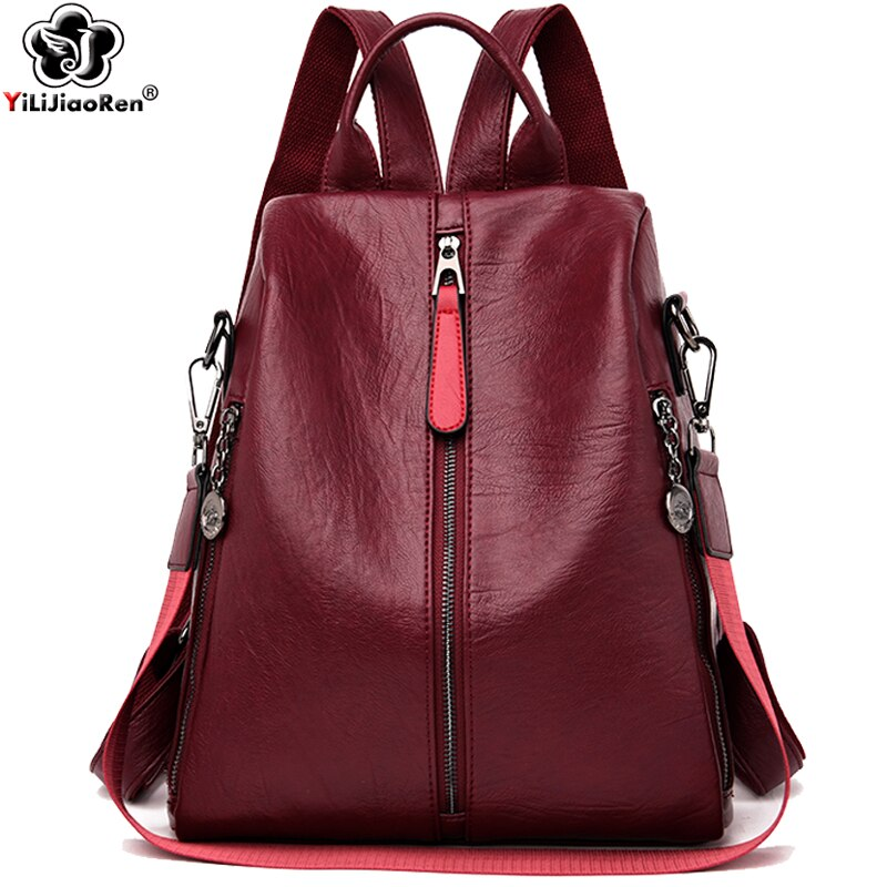 موضة مكافحة سرقة حقيبة ظهر المرأة حقيبة كتف جلدية حقيبة ظهر للفتيات سعة كبيرة الحقائب المدرسية للمراهقات Mochila