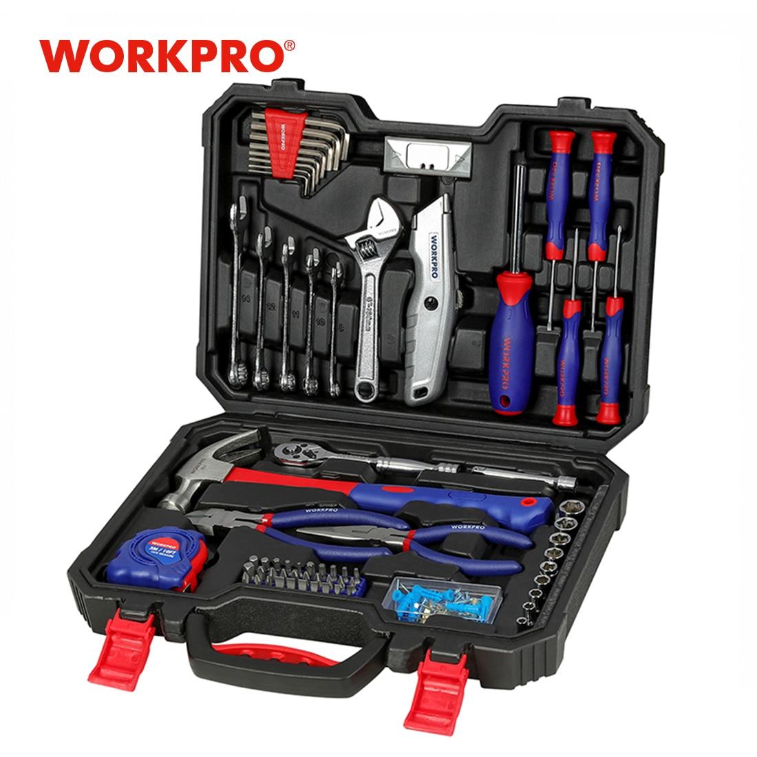 WORKPRO-مجموعة أدوات منزلية ، أدوات يدوية للاستخدام اليومي ، مجموعة أدوات منزلية ، مفك براغي ، مفتاح ربط ، كماشة سكين ، 160 قطعة