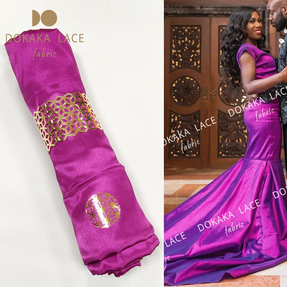 5 ярдов фуксия шелковая атласная ткань 2020 африканские нигерийские женщины Birde или Жених Weding выпускное платье подкладка сатин вышивка Джордж...
