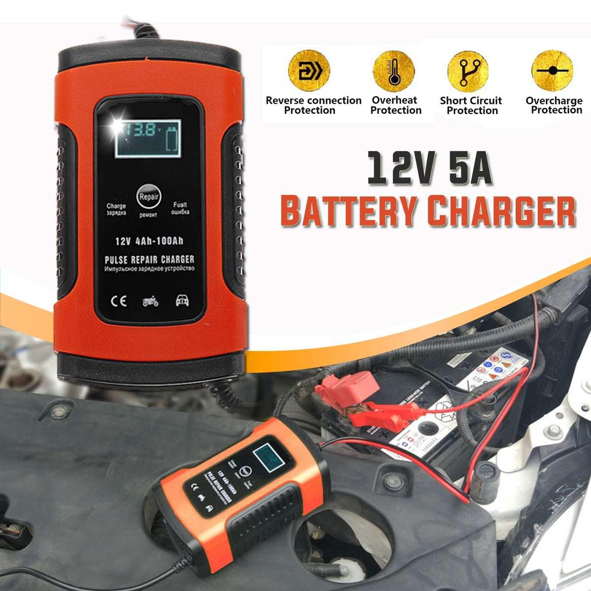 Audew-cargador de batería Digital LCD, para reparación de pulsos, 12V, 5A, rojo, para motos de coche, Agm Gel, cargadores de batería de ácido y plomo mojado