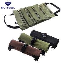 500*290mm sac à outils toile outil rouleau pochette multi-usages fermeture éclair poche de rangement suspendus Portable sac à outils