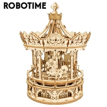 Robotime 336pcs Rotatable DIY 3D Romantic Carousel Wooden Puzzle Game Assembly Music Box Toy Gift fo