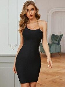 Wom,en Bodycon Summer Bandage Dress 2020 Sexy Backless Halter Chain Black Designer Fashion Evening Party Dress Vestido