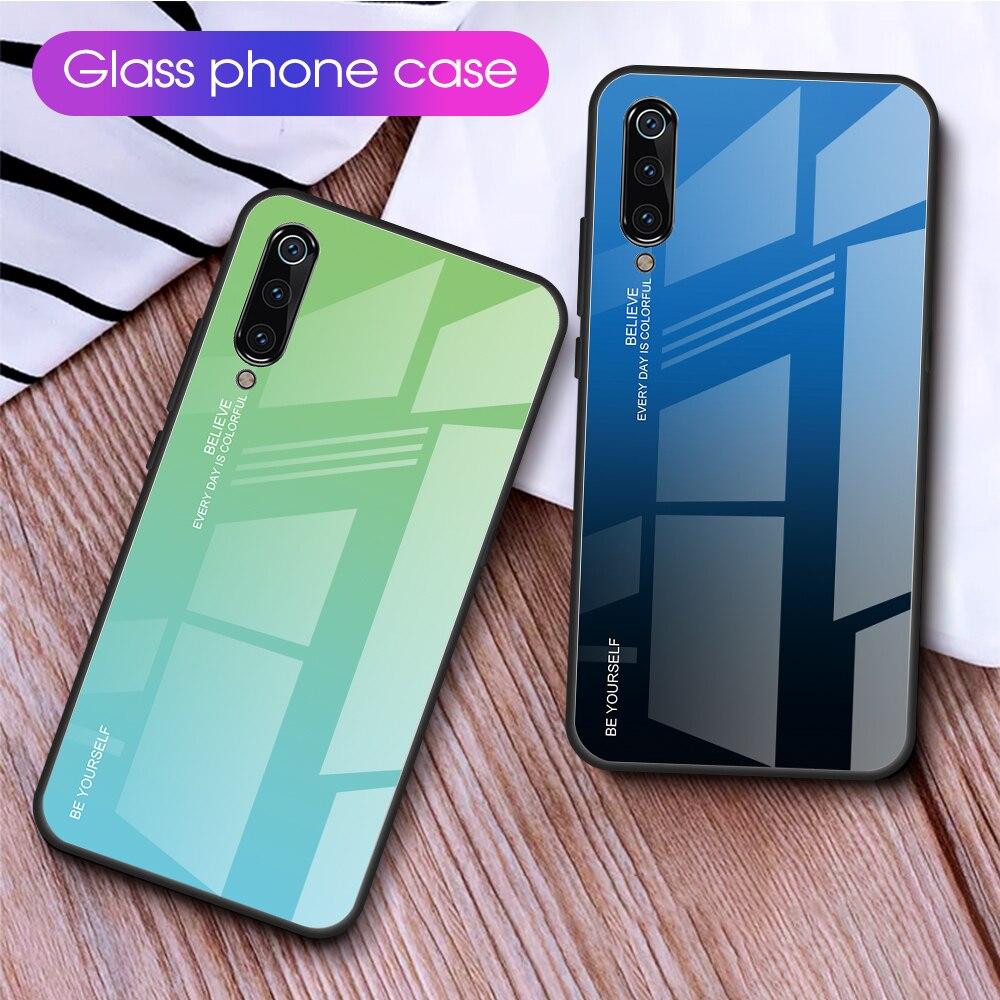 Carcasa de cristal degradado para teléfono Xiaomi mi 9 SE mi 9 Lite CC9 CC9E Silione funda de parachoques para Xiaomi mi 9 Pro funda de vidrio templado