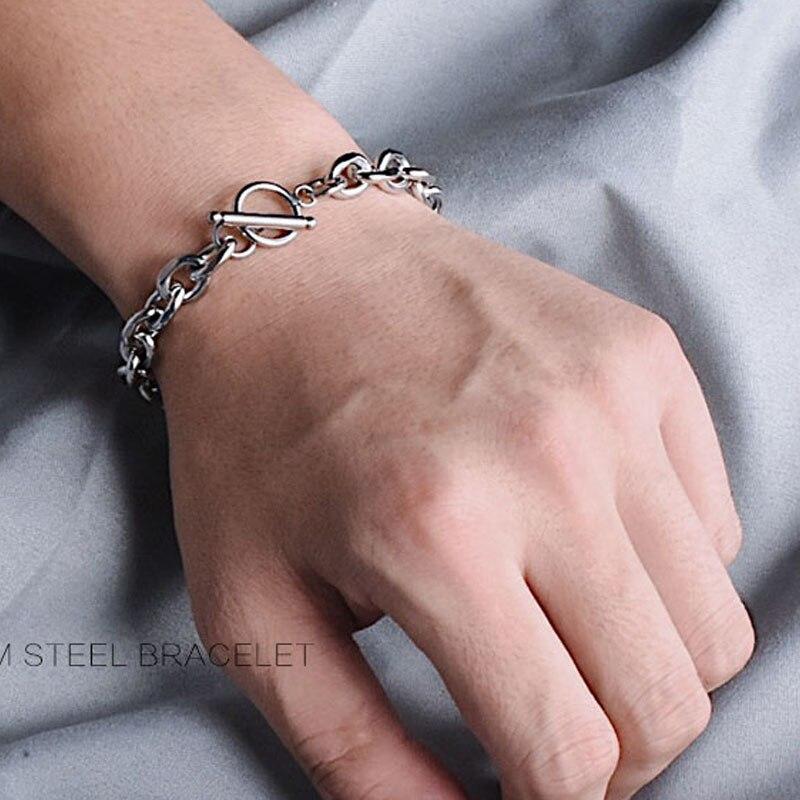Pulsera de cadena de mano de acero inoxidable cubano pulseras de joyería punk, regalos para hombres, accesorios para hombre hip hop enlace pulsera de mano