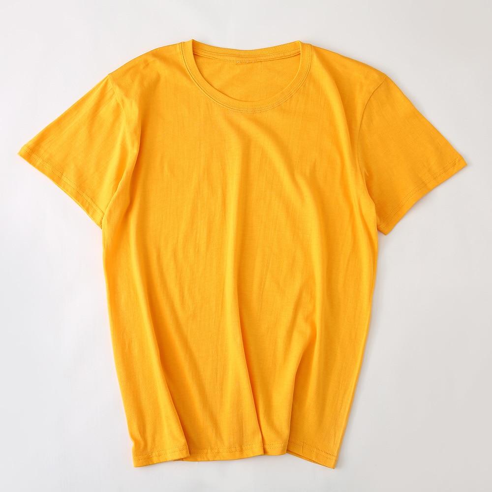 تي شيرت من 18 لون نقي بأكمام قصيرة مخصص للرجال والنساء قميص قطني للترفيه بأكمام قصيرة