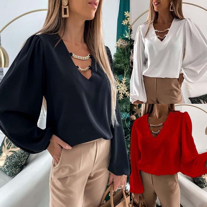 V-Neck Women Plus Size Blouse Chiffon  Long Sleeve Shirt Spring Ol Shirts Female Solid Casual Feminina Camisas Blusas Streetwear