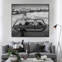 classic women and panther posters and prints white black human and nature wall art canvas painting pictures for home wall decor