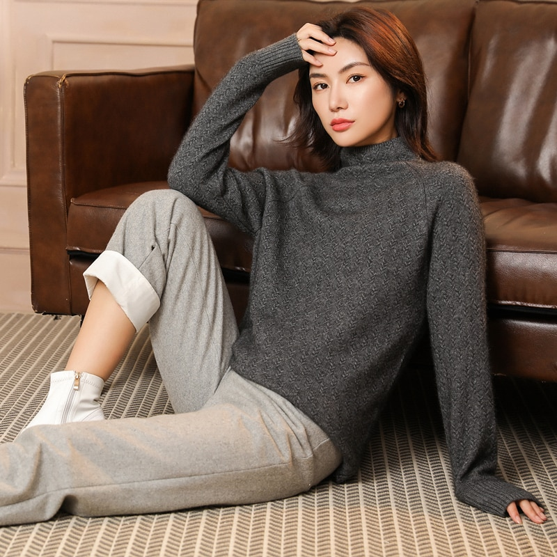 adishree 2021 woman winter 100% Cashmere sweaters and auntmun knitted Pullovers High Quality Warm Female thickening Turtleneck enlarge