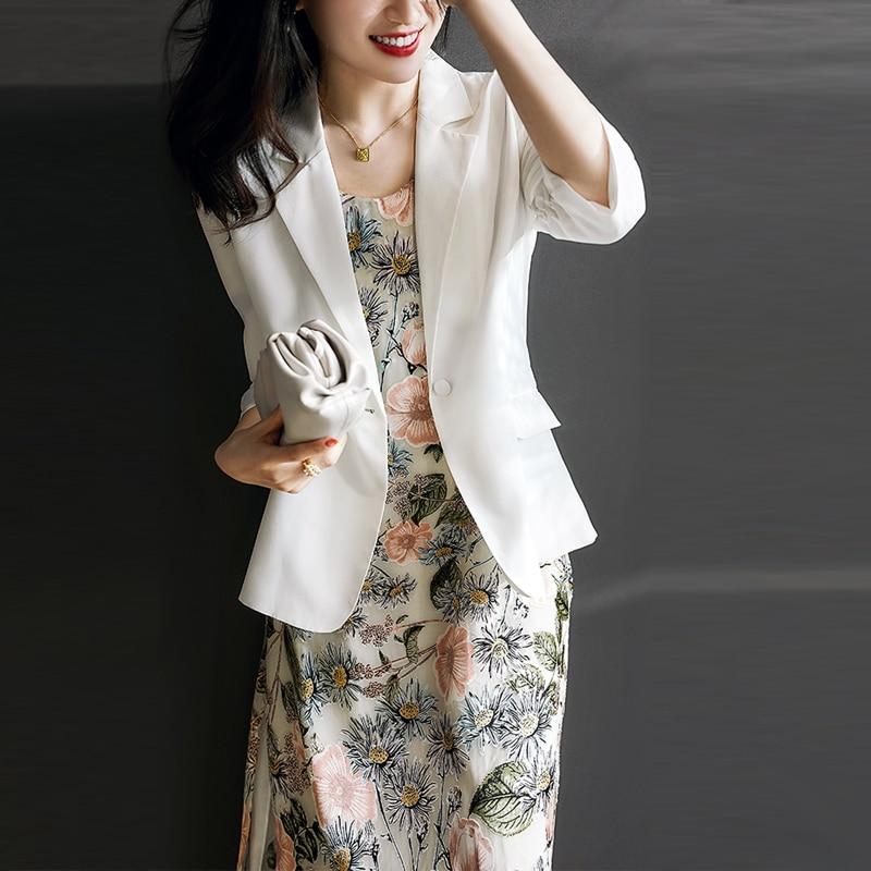 2020 New Summer Thin White Blazer Women Fashion Work Office Business Blazers Ladies Casual Suit Jacket plus size 3XL femme veste