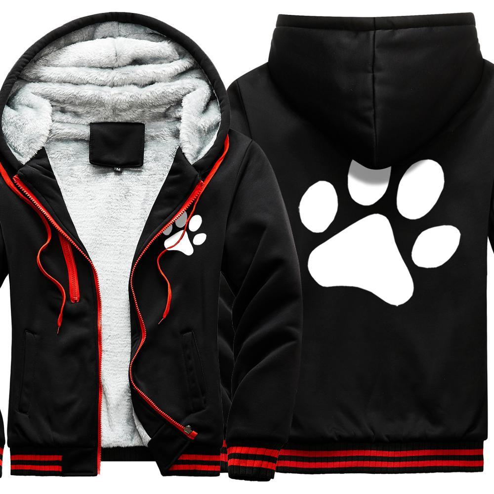 Cats Dog Paw Print Mans Fleece Hoody Jackets Winter Casual Outdoor Hooded Zipper Jackets 2020 Woman Loose Sweatshirts Jackets