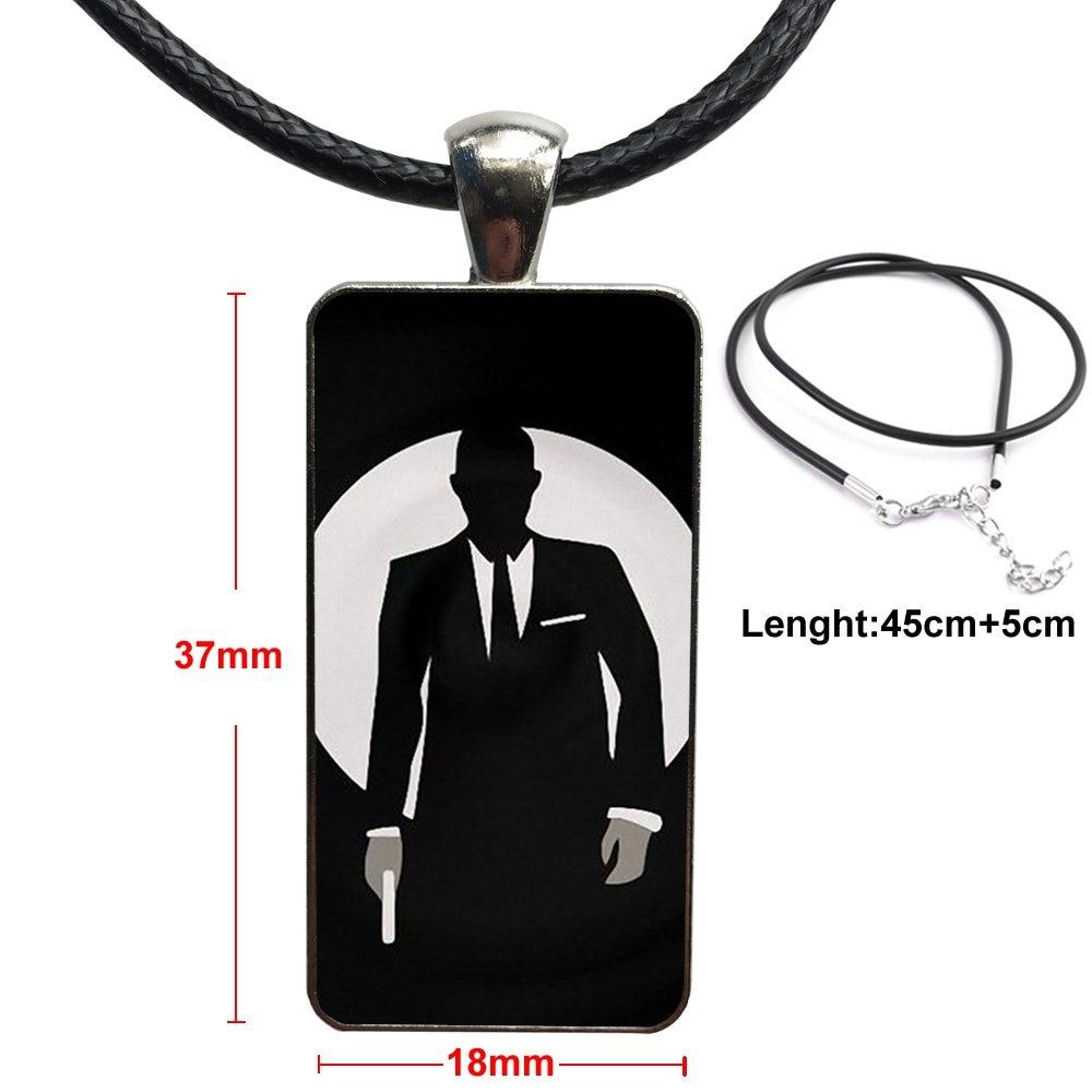 For Women Girls 007 Skyfall Spectre James Bond Fashion Glass Cabochon Pendant Rectangle Necklace Choker Necklace Jewelry