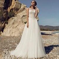 simple sheer straps wedding dresses 2021 luxury a line appliques backless lace flowers bursh train sleeveless vestido de novia
