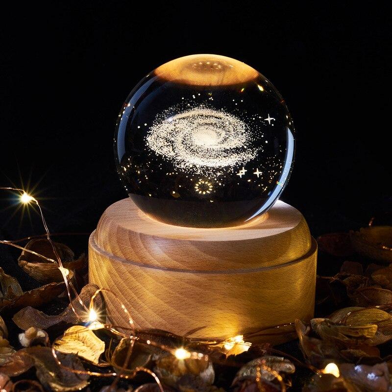 مصباح ثلاثي الأبعاد على شكل كرة بلورية مع شاحن usb ، إضاءة زخرفية داخلية ، مثالي لغرفة المعيشة أو غرفة النوم أو الأرض أو المجرة أو الكون.