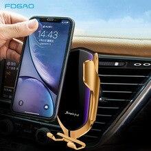 10W Qi Car cargador inalámbrico Sensor infrarrojo sujeción automática de carga rápida Car Phone Holder para iPhone 11 XS XR Samsung S10 S9