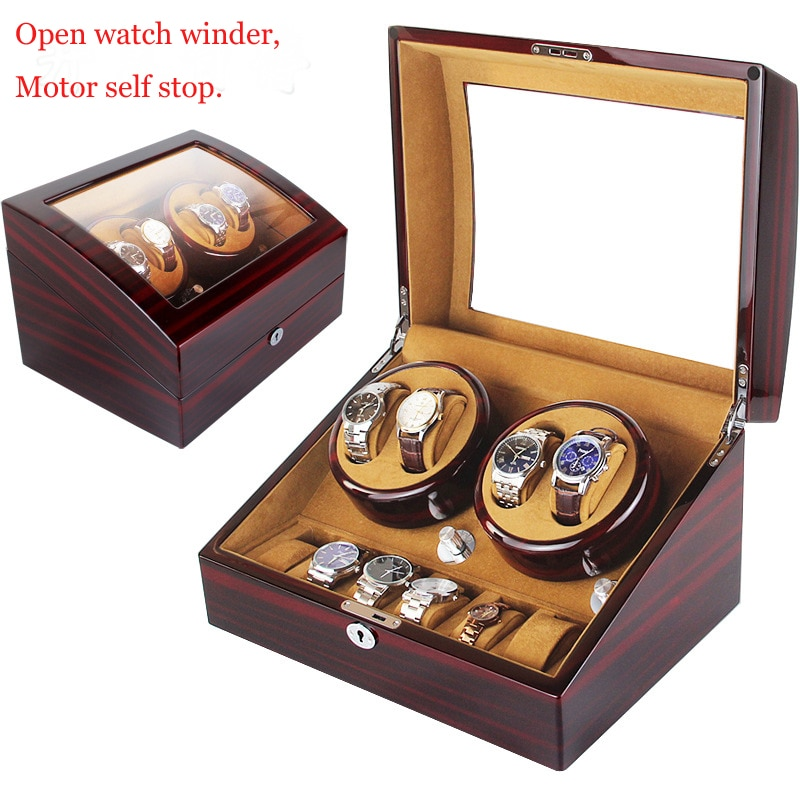 High Quality Watch Winder Open Motor Stop Luxury Automatic Watch Display Box Winders 2-3, 4-0, 4-6 Wood Leather Box
