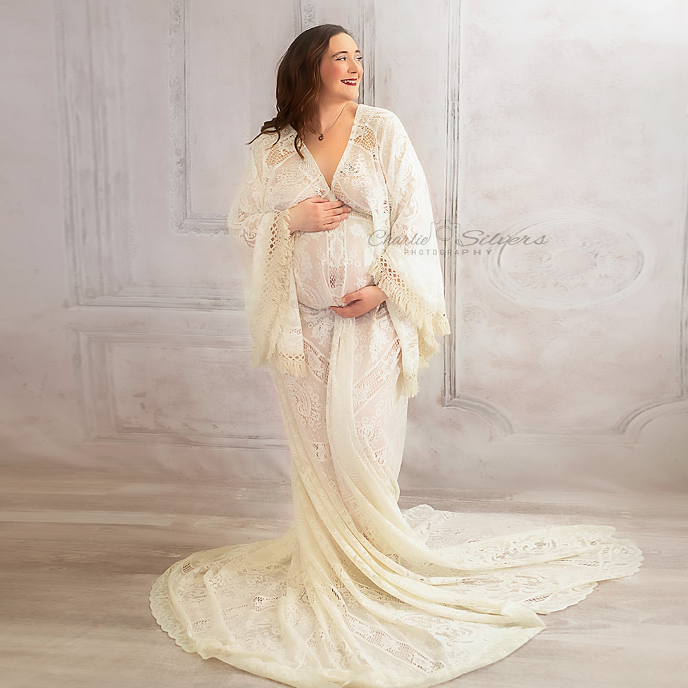 Boho Maxi Long Bell Sleeves Maternity Dress Pregnancy Gown Lace Robe Lady Couture for Woman Photography Prop Baby Shower Gift enlarge