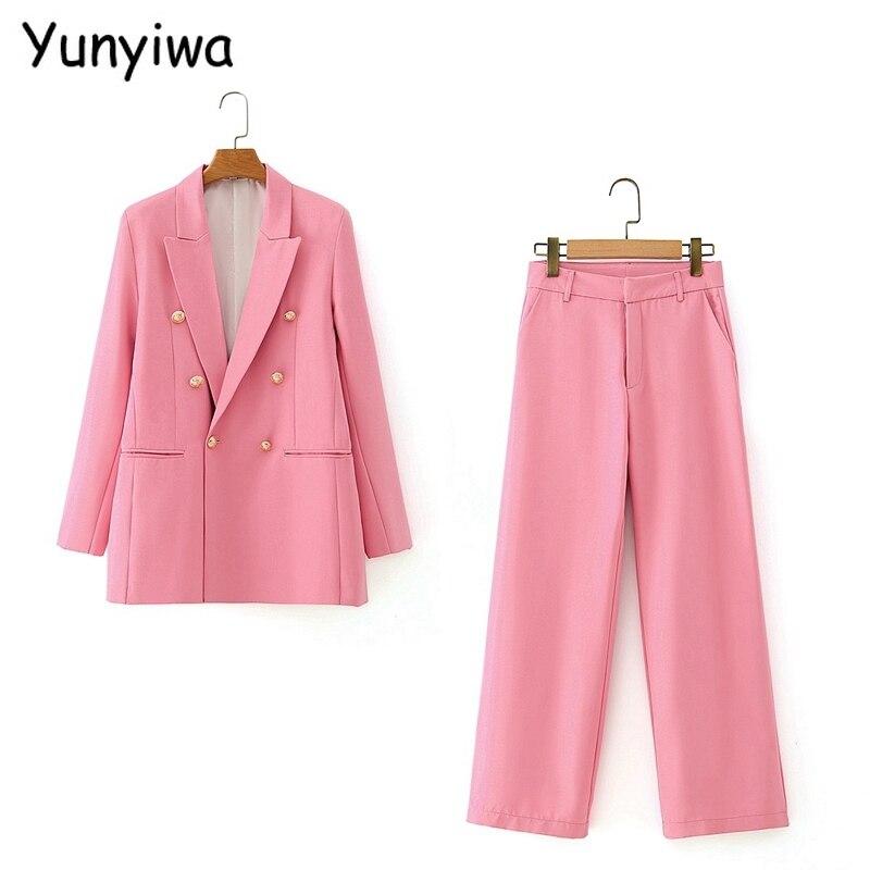 2020 outono feminino rosa blazer duplo breasted calças conjunto senhora do escritório elegante terno 2 peça conjunto blazer e calças da23