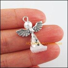 12 sztuk tybetański srebrny kolor skrzydła białe koraliki taniec anioł Charms zawieszki 21x28mm