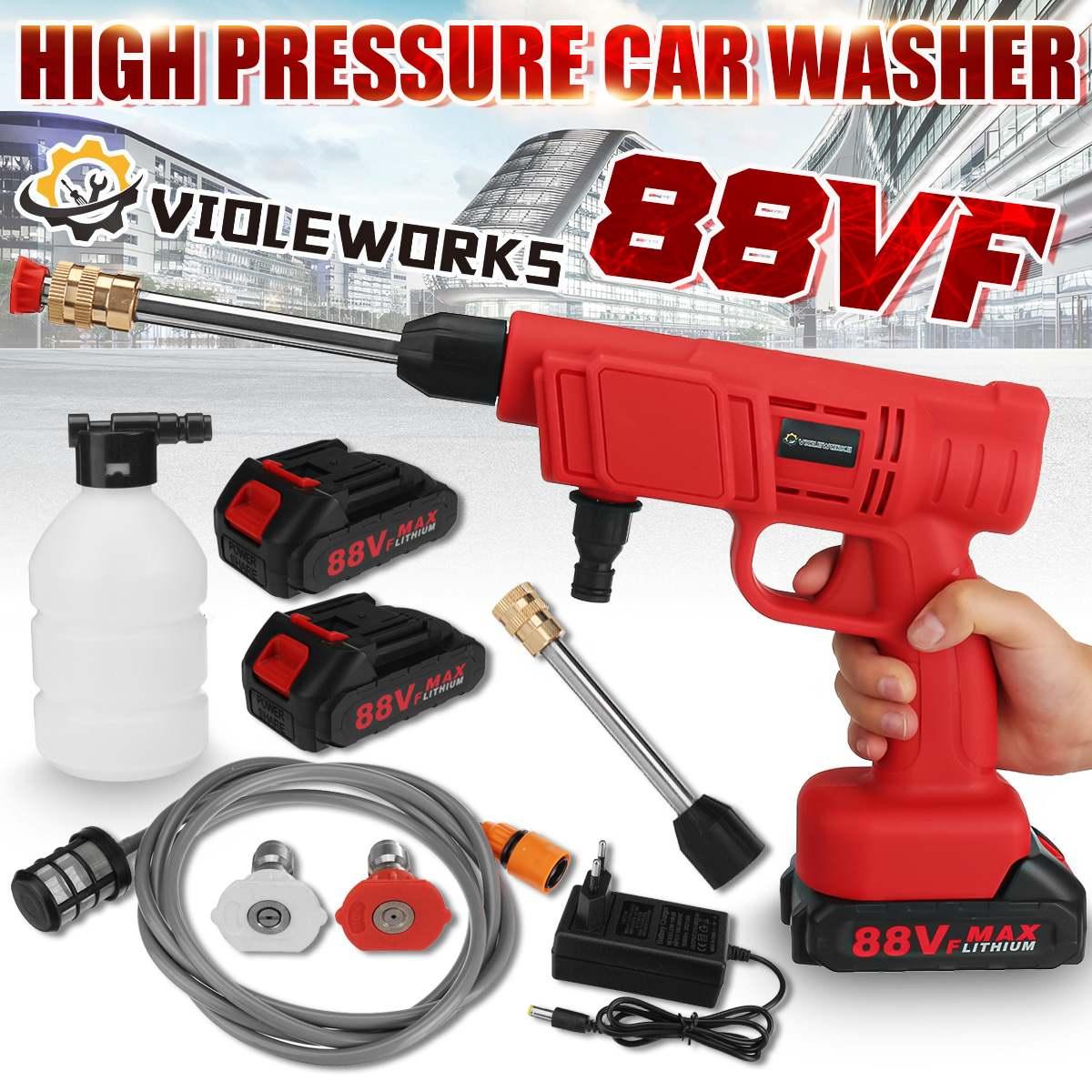 10000Mah 88 فولت ارتفاع ضغط اللاسلكي آلة غسل سيارات رذاذ الماء بندقية غسيل السيارات فوهة ماء آلة التنظيف للبطارية ماكيتا 18 فولت