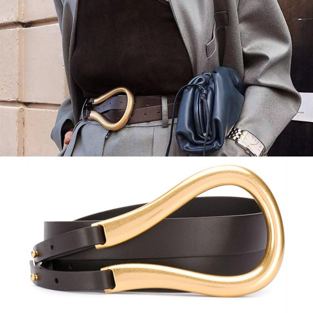 Luxury Leather Belts For Women High Quality Irregular Tuba Horse's Hoof shape Metal Buckle Fashion Double Waist Belt Accessories