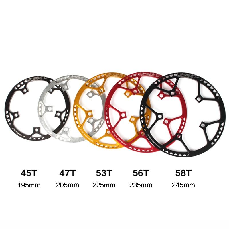 Litepro ultraligero 130 BCD 45T 47 53T 56T 58T A7075 de aleación de BMX plato plegable bicicleta BMX de sillín de bicicleta de platos y bielas diente
