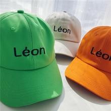 "Snapback Hip Hop Baseball Cap High Street Embroidery Sun Hats Fluorescent green ""LEON"" High Quality Unisex Baseball Caps Orange"