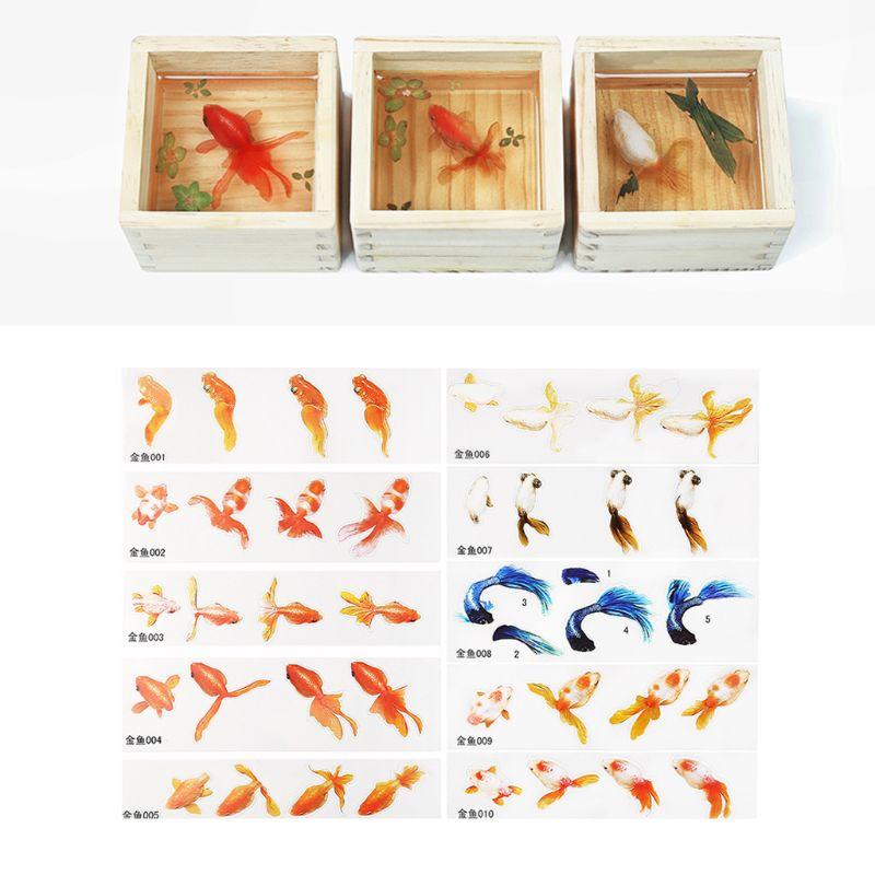 16 pçs/set Epóxi Cristal DIY Enchimento 3D Folha de Resina Pintada Goldfish Lentilha Enchimento Artesanato Fazer Jóias Material Adesivo