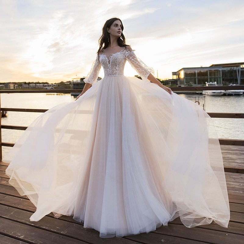 Review 2021 Boho A-Line Wedding Dresses Lace Appliques Half Sleeves Glitter Bohemian Bridal Gowns Beach Country Tulle Wedding dress