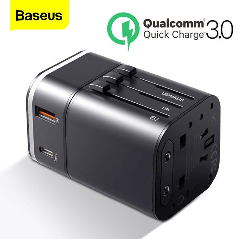 Baseus 18 Вт Reizen Eu Usb зарядное устройство Quick Charge 3,0 Voor Samsung Telefoon Oplader USB-C Pd 3,0 быстрое зарядное устройство Voor iphone 11 Pro