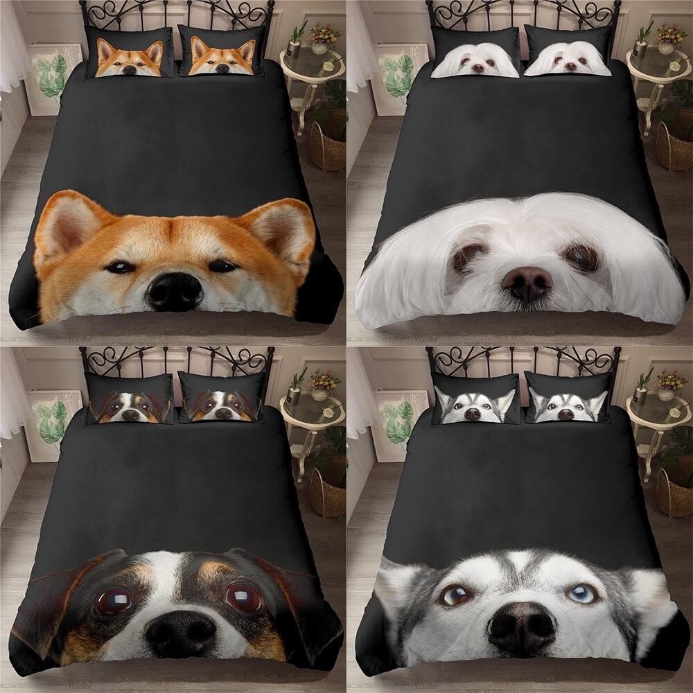 2021 ثلاثية الأبعاد الحيوان الكلب طقم سرير فاخر حاف الغطاء لطيف جرو المعزي طقم سرير الديكور الملك سرير ملكة الكتان