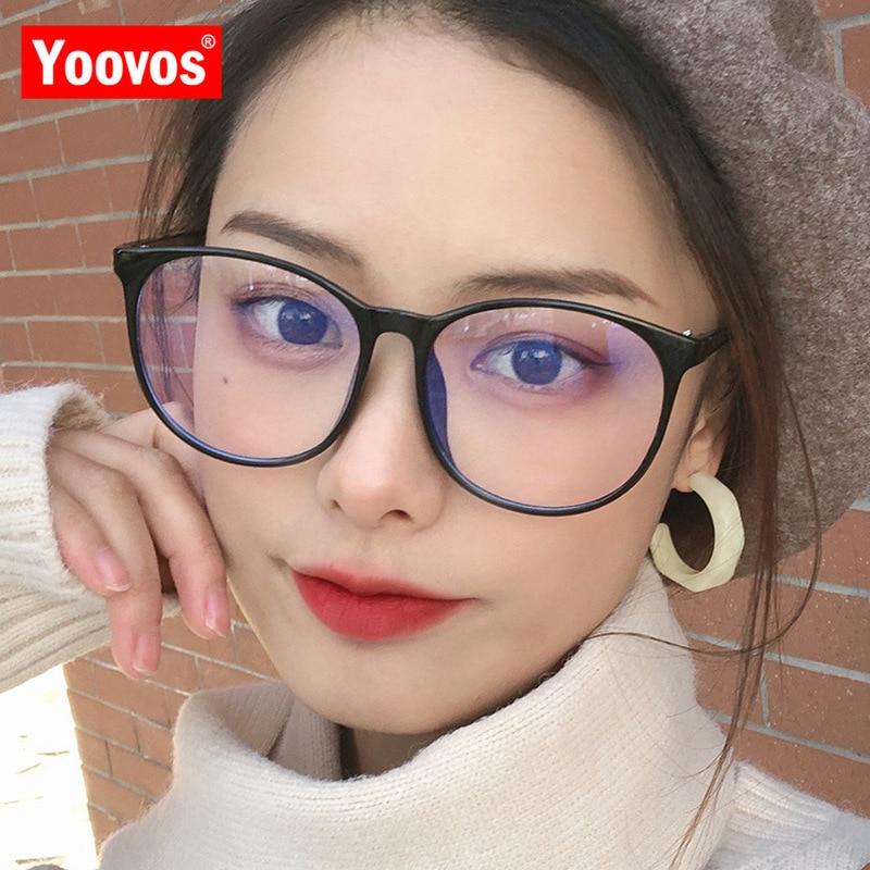 Gafas De montura redonda Yoovos para mujer, monturas De Gafas Retro para mujer, monturas De Gafas transparentes okulares De luz azul, monturas De Gafas De Marca
