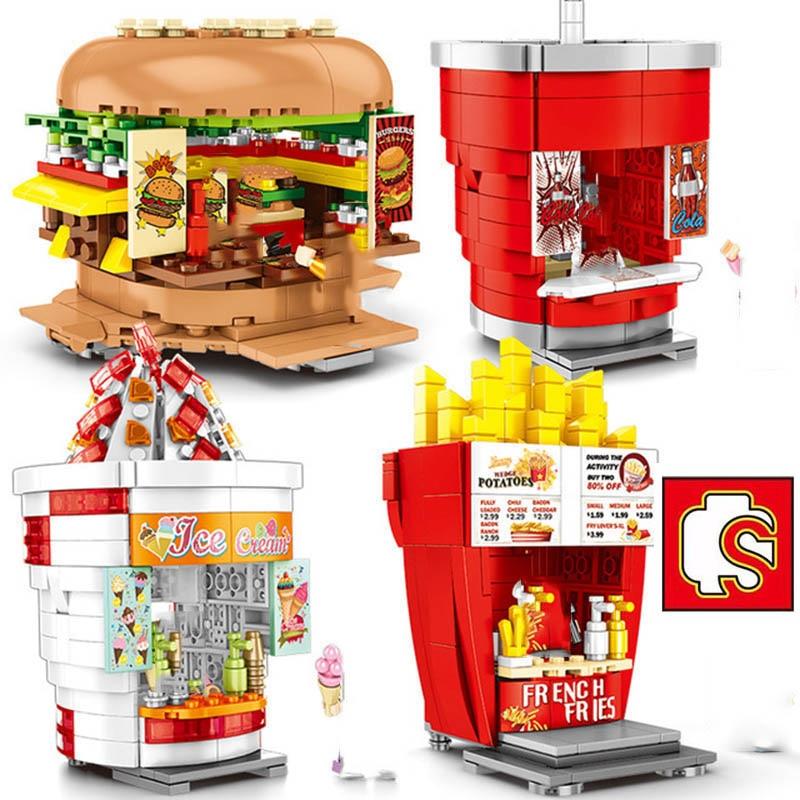 Sembo bloques Mini escena urbana tienda minorista hamburguesa bebida tienda conjunto de bloques de construcción modelo niños DIY juguetes educativos