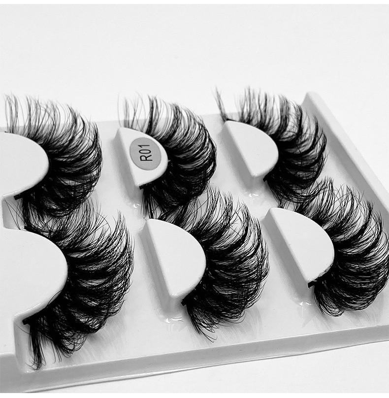 3 Pairs/box Natural Long False Eyelash 6D Imitation Mink Hair Fake Lashes Thick Wispy Fluffy Makeup