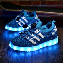 2020 New Kids USB Luminous Sneakers Glowing Children Lights Up Shoes With Led Slippers Girls Illumin
