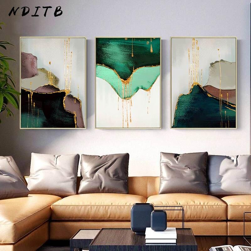 Verde dourado pintura abstrata moderna lona cartaz e impressão nordic decoração da parede arte decorativa imagem da sala de estar decoração