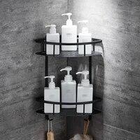 Etagere tipi repisa     etagere en triangle noir  salle de bain  panier de rangement en aluminium  douche  caddie  support pour seche-cheveux