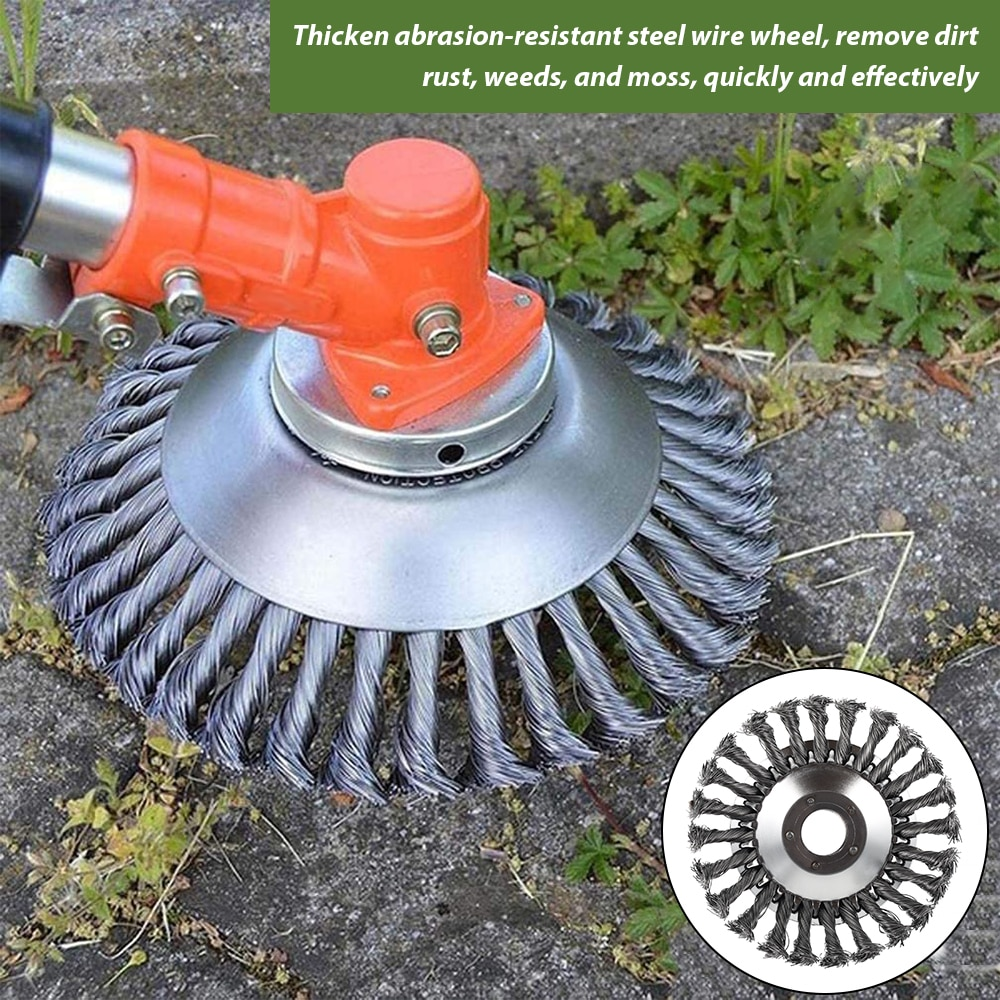 new brush cutting head steel wire grass trimmer head brushcutter gearbox gearhead lawnmover part replace adapter for garden tool Steel Wire Wheel Lawn Mower Brush Disc Grass Trimmer Head Brushcutter Grass Weed Cutting Rusting Dust Removal Plate Garden Tools
