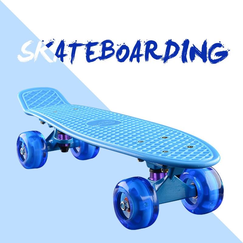 Скейтборд прогулочный, мини Лонгборд, детский скутер, Лонгборд, 4-колесный скейтборд в стиле ретро, со светодиодными флэш-колесами, 22 дюйма